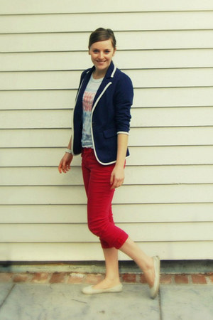 navy Logix blazer - red Forever 21 jeans - Nordstrom t-shirt