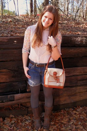 nude leather Dooney and Bourke bag - jean American Eagle shorts