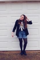 black H&M blazer - Old Navy shorts - black kohls t-shirt