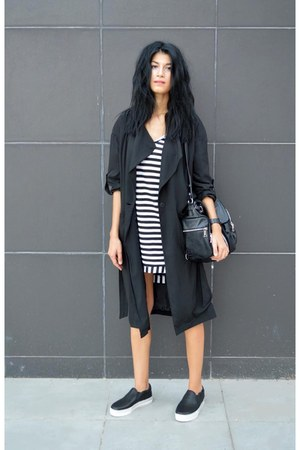 trench coat Sheinsidecom coat - striped Sheinsidecom dress - anna xi bag