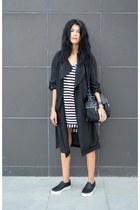 trench coat Sheinsidecom coat - striped Sheinsidecom dress - anna xi bag