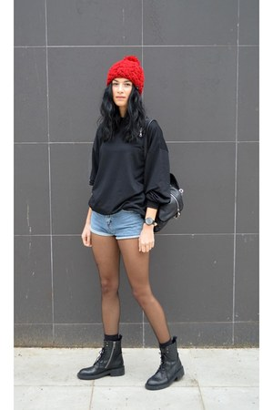 lace up boots ASH boots - backpack anna xi bag - denim Choies shorts