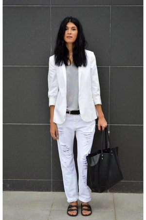 ripped Stradivarius pants - white In Wear blazer - sliders asos flats
