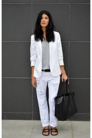 ripped Stradivarius pants - white In Wear blazer - sliders asos flats