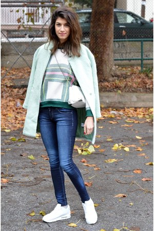 mint Sheinsidecom coat - plaid Sheinsidecom sweater - white Zara bag