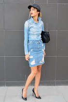 denim H&M shirt - black leather Ebay hat - black Zara heels - asos skirt
