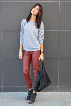 peep toe asos boots - shopper H&M bag - grey cutouts PERSUNMALL sweatshirt