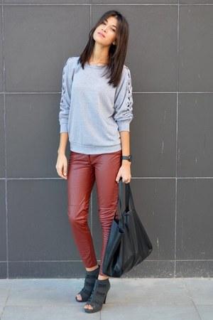 peep toe asos boots - shopper H&M bag - grey cutouts PERSUNMALL sweatshirt