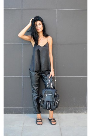 backpack anna xi bag - faux leather asoscom pants - sliders asos flats