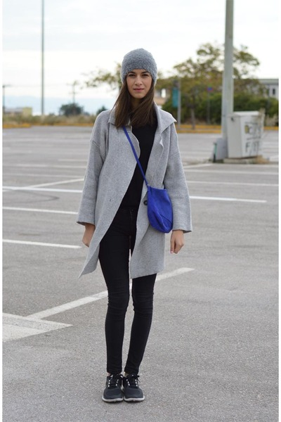 grey Sheinsidecom cardigan - fluffy asoscom hat - blue Zara bag - nike sneakers