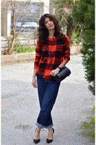 plaid choiescom sweater - blue Levis jeans - black asos watch