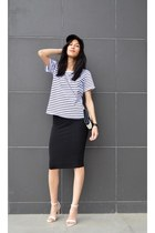 striped choiescom t-shirt - midi asos skirt - white Zara heels