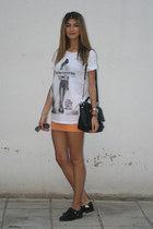 satchel Marc by Marc Jacobs bag - black Zara flats - orange H&M skirt
