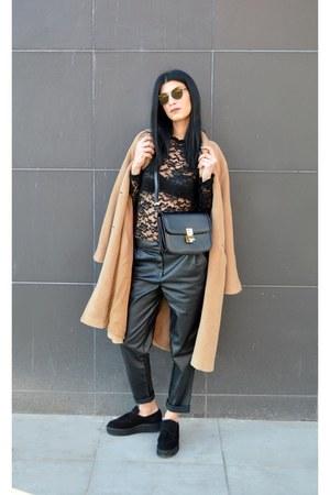 camel Max Mara coat - minimal Mykita sunglasses
