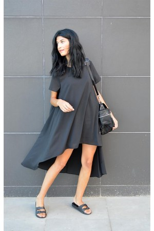 black Mart of China dress - backpack anna xi bag - sliders asos flats