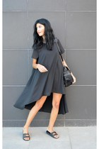 black Mart of China dress - backpack anna xi bag - sliders asos flats