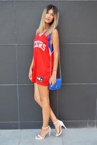 blue Nowhere bag - red Adidas blouse - Zara heels