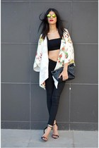 crop top asos top - skinny Stradivarius pants - floral kimono Choies cape