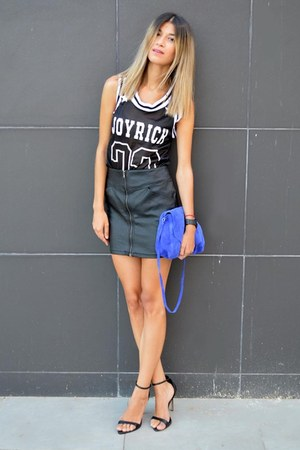 cobalt blue Zara bag - leather H&M skirt - sporty Sheinsidecom blouse