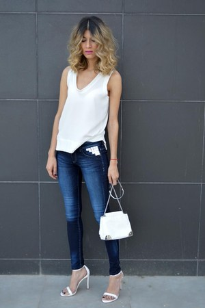 white Zara bag - blue Bershka jeans