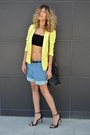 Yellow-ahaishopping-blazer-denim-chicnova-shorts-black-asos-top