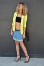 Yellow-ahaishopping-blazer-denim-chicnova-shorts-black-asos-top