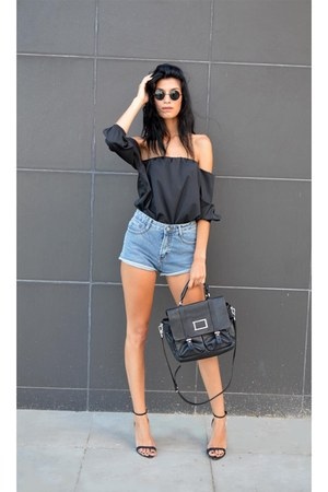 off shoulder Sheinsidecom top - leather bag Marc by Marc Jacobs bag