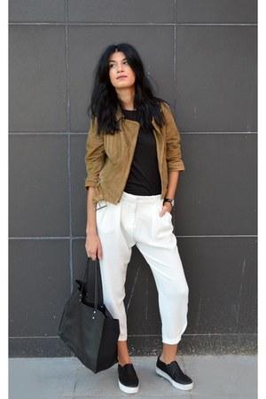 suede gestuz jacket - white loose Choies pants - slip ons ASH sneakers