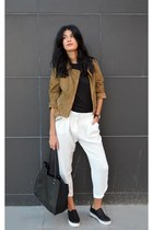 suede gestuz jacket - white loose Choies pants - slip ons ASH sneakers