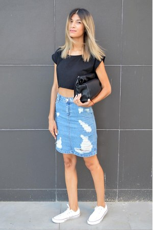 denim asos skirt - lunch Zara bag - Converse sneakers