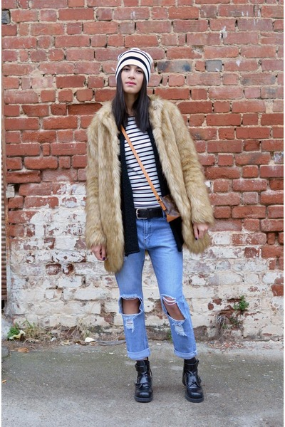 striped asos hat - ripped choiescom jeans - crossbag Louis Vuitton bag