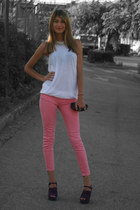 pink Zara pants - white Zara top - peep toe asoscom heels