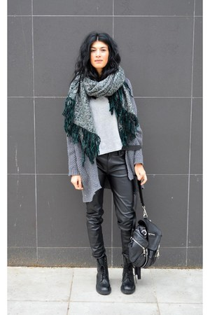 oversized asos scarf - lace up boots ASH boots - faux leather Mango pants