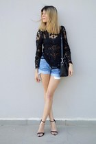 Sheinside top - Marc by Marc Jacobs bag - Levis shorts - Zara heels