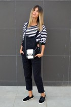 cropped striped Sheinsidecom sweatshirt - black and white choiescom bag