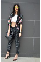 kimono choiescom cardigan - mirrored choiescom sunglasses - leather asos pants