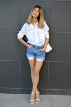 asos shirt - Levis shorts - Zara heels