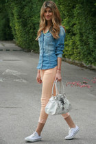 salmon Bershka pants - jean H&M shirt - white George Gina & Lucy bag