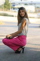 pink Nellycom pants - grey Zara t-shirt - black asos heels