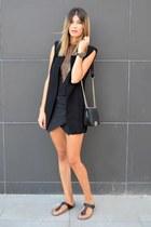 quilted chicnova bag - thong Birkenstock flats - sleeveless Sheinsidecom vest