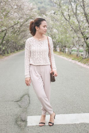 brown Celine bag - light pink Uniqlo pants
