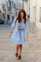 jean Zara dress - leather Mary Paz clogs - crochet Hand Made vest