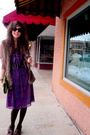 Purple-dress-brown-vest-brown-tights-brown-cardigan