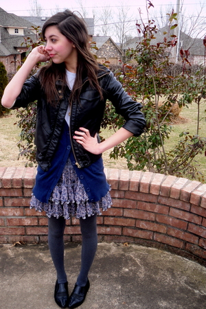 black jacket - blue skirt