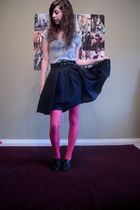 pink tights - black skirt