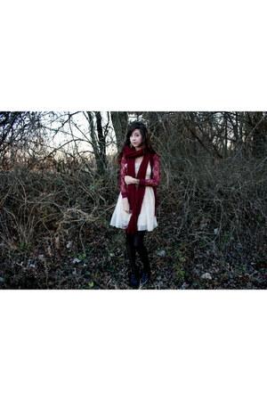 beige Target dress - maroon Target cardigan - maroon scarf - black tights - blac
