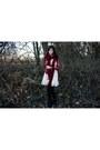 Beige-target-dress-maroon-target-cardigan-maroon-scarf-black-tights-blac