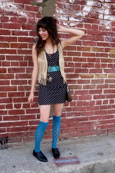 black shoes - blue Forever 21 socks - black Wet Seal dress - green belt - beige