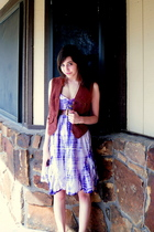 purple dress - brown vest