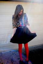 red Target tights - black Target skirt - black shirt - black Target shoes